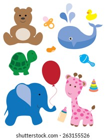 vector baby shower items and animals
