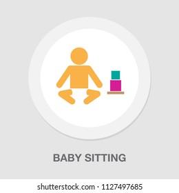 vector baby sitting illustration, cute baby - little kid, vector child