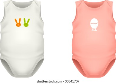 VECTOR. Baby sleeveless bodysuits in two color variations with sample print design. Contains gradient meshes