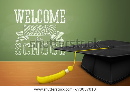 vector back school banner graduation cap stock vector royalty free