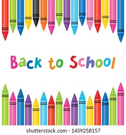 Vector Back to School banner template with frame of colorful oil pastel crayons. Square format with copy space for ads, promotions for website, flyer, social media, newsletter, school poster.