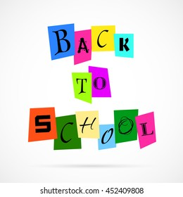 Vector Back To School from Color Paper over white