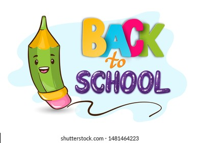 Vector Back to school cute illustration -smiling pencil character in hand drawn cartoon style with funny 3D lettering (paper art and balloons). School or office stationery, September 1 holiday, kids