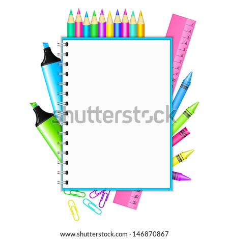 76dade041f11 Vector Back School Frame Colorful Stationery Stock Vector (Royalty ...
