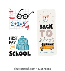 """Vector """"Back to school"""" labels with school bus, glasses, bag icons and handwritten typography"""