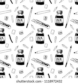Vector back to school repeatable pattern with the art supplies for art, graphic and inking