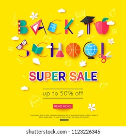 vector back to school sale banner template