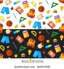Vector back to school set of seamless pattern. High school object items in flat style.