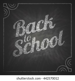 Vector Back to School text on chalkboard background.