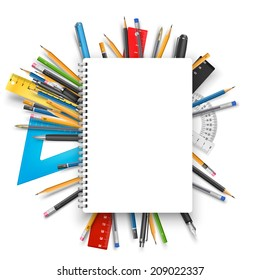 Vector back to school theme background: notebook, pens and pencils.