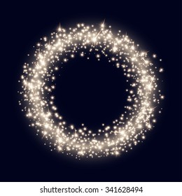 Vector Backdrop with Abstract Bright Sparkling Golden Ring on Dark Blue Background