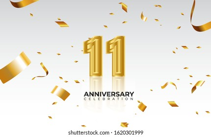 Vector background 11th Anniversary celebration by using two colors in the design between gold and white, Golden number 11 with sparkling confetti Realistic 3d sign. Birthday or wedding party