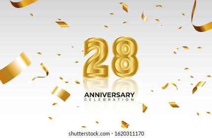 Vector background 28th Anniversary celebration by using two colors in the design between gold and white, Golden number 28 with sparkling confetti Realistic 3d sign. Birthday or wedding party