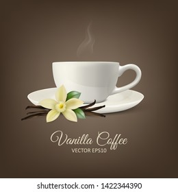 Vector Background with 3d Realistic Composition - White Cup of Coffee, Sweet Scented Fresh Vanilla Flower, Dried Seed Pods and Leaves Set Closeup. Cafe, Restaraunt, Culinary Concept. Front View