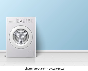 Vector Background with 3d Realistic Modern White Steel Washing Machine Closeup. Background. Design Template of Wacher. Front View, Laundry Concept