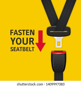 Vector Background with 3d Realistic Unblocked Passenger Seat Belt Clopeup Isolated on Yellow. Fasten Your Seatbelt. Design Template. Top View. Transport Safety Concept