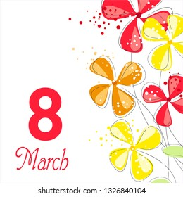 Vector background to the 8th of March (Women's Day). Template design card. Number 8