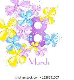 Vector background to the 8th of March (Women's Day). Template design card.