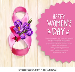 Vector background to the 8th of March (Women's Day). Template design card. Number 8,  ribbons with a bouquet of blue crocus on a wooden background