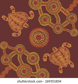 Vector background aboriginal style dot painting design with turtles