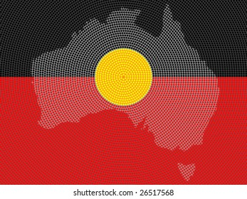 Vector background aboriginal style symbolic design.
