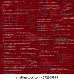 Vector background with abstract program code parts. Red colored.