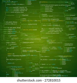 Vector background with abstract program code parts. Green colored.