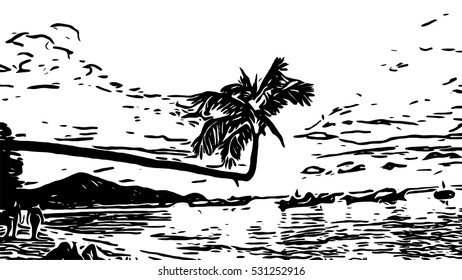 vector background - abstract silhouettes seascape in twilight time with bend coconut tree