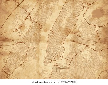 Vector background with all streets of New York and surroundings map.