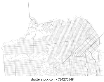 Vector background with all streets of San Francisco and surroundings map.