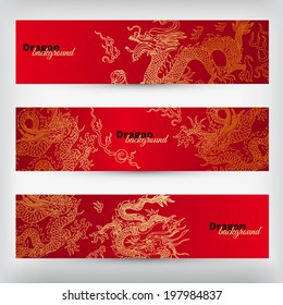Vector background with asia dragons. Hand drawn illustration. Banner set.