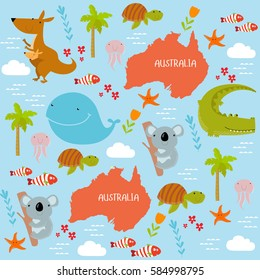 Vector background Australia with cartoon animals. Keith, kangaroo, koala, turtle, crocodile, fish