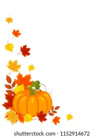 Vector background with autumn leaves and pumpkin on white.