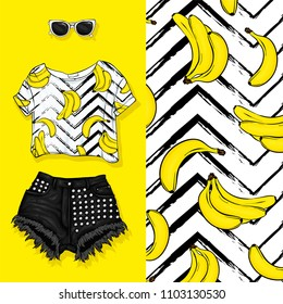 Vector background of bananas. Vector illustration. Short top with fruits and shorts, feminine stylish look. Summer outfit, glasses and shoes. Fashion & Style.