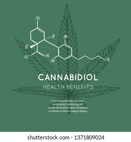 Vector background, banner, poster with CBD formula. Cannabis leaf in medecine concept. Health benefits of Marijuana