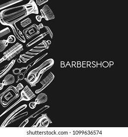 Vector background with barbershop elements on the blackboard