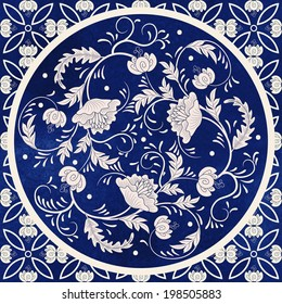 Vector background. Beautiful floral round pattern in chinese style. Simple delicate decor.  Imitation of chinese porcelain painting. Blue watercolor background. Hand drawing.