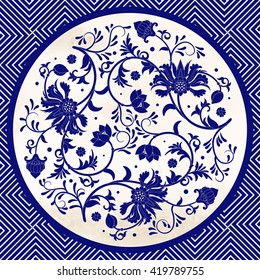 Vector background with beautiful floral round pattern in chinese style. Imitation of chinese porcelain painting.