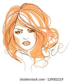 VECTOR Background with the beautiful young   woman