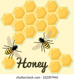 Vector background with bees and honeycomb