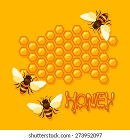Vector background with bees on the hive