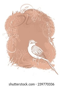 Vector background with bird at the tree branch in