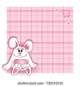 Vector background Birthday card for child. Pink cute bunny girl with a bow on a pink background with a checkered texture. Cartoon funny character.