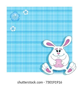Vector background Birthday card for child. Blue cute bunny boy on a blue background with a checkered texture. Cartoon funny character.