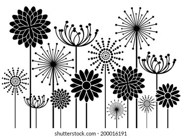 vector background with black flowers silhouettes isolated on white