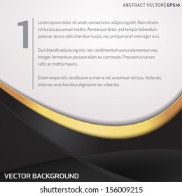 Vector background with black and golden waves