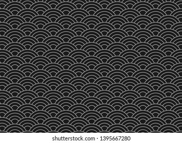 vector background of black japanese wave pattern