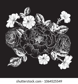 Vector background with black roses and petunias. Floral template in black and white tones. Vintage style.