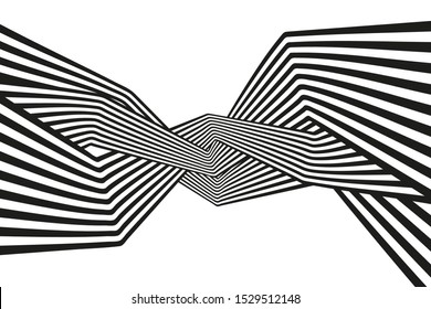 Vector background. Black and white mobious wave. Stripe optical abstract design.