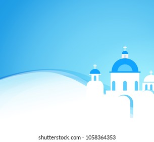 Vector background blue color with greek kirk. Poster with copy space for Advertising to Travel or Tour.